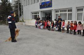 Jandarma köpeklerinin gösterisini minikler şaşırarak izledi