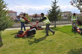Şuhut Belediyesinde yabani ot ve çim biçme çalışması