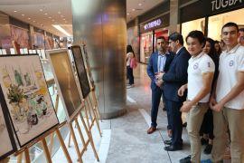 Lise öğrencileri Park Afyon AVM'de resim sergisi açtı