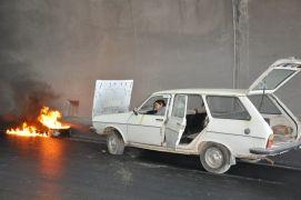 Araç yangını tatbikatında tünel ortasında şaşırtan görüntü