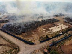 Biyokütle enerji santralinde çıkan yangın kontrol altına alındı, soğutma çalışmaları sürüyor