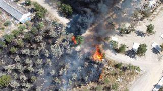 Afyonkarahisar'daki termal tatil köyü arazisinde yangın